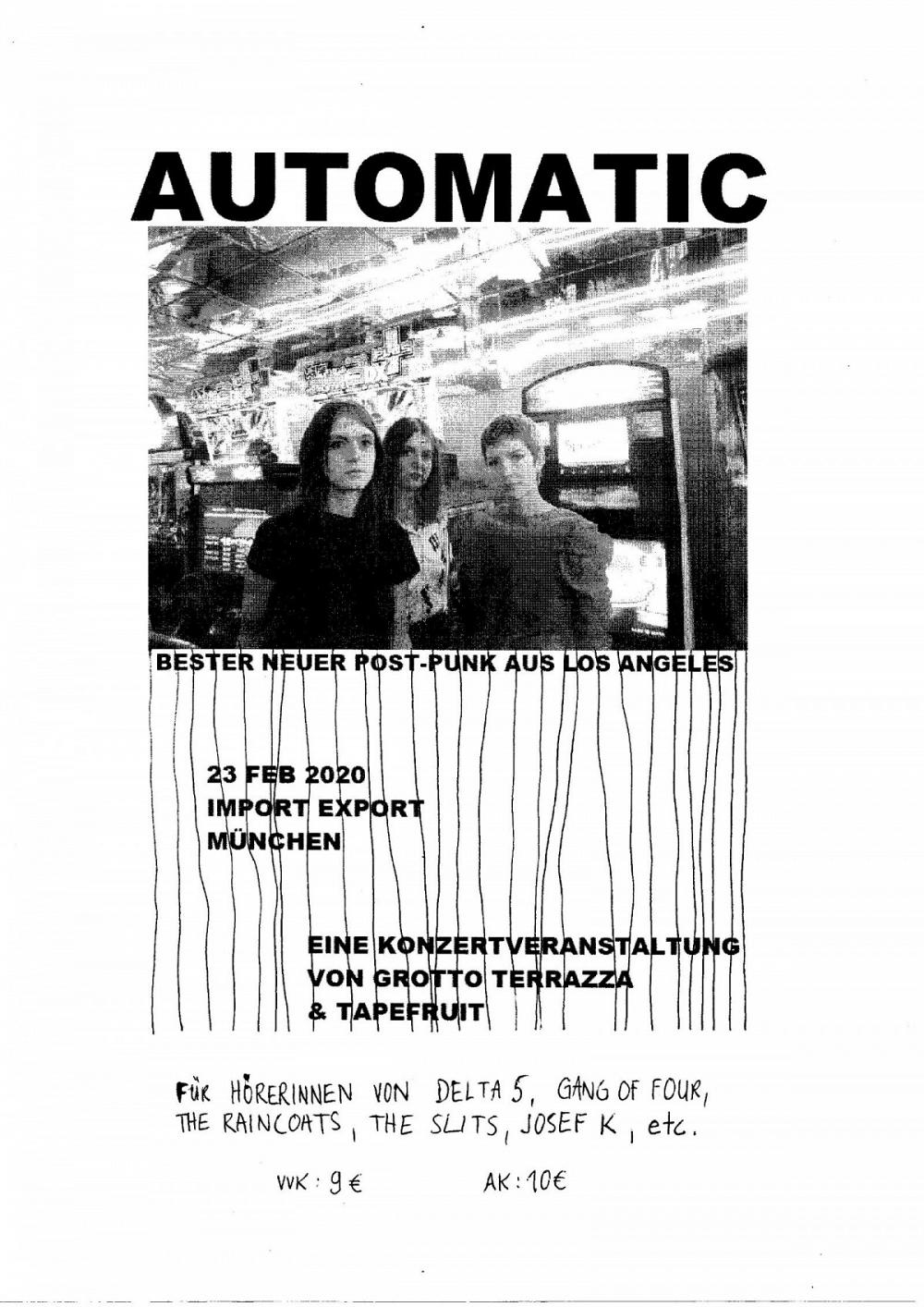 Tapefruit Konzert: Automatic | 23.02.2020 @ Import Export