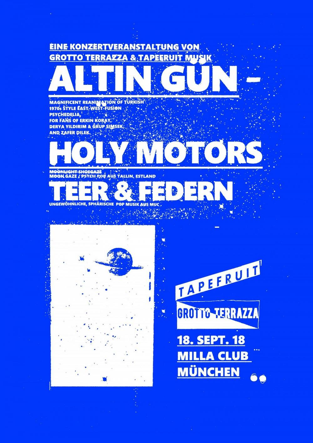 Tapefruit Konzert: Holy Motors + Teer & Federn | 18.09.2018 @ Milla Club
