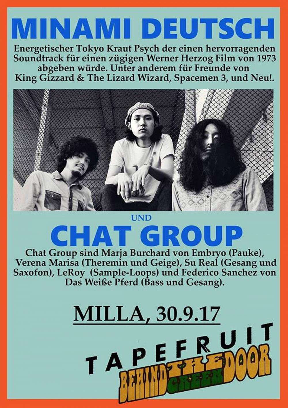 Tapefruit Konzert: Minami Deutsch + Chat Group | 30.09.2017 @ Milla Club